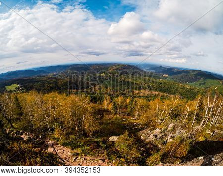 View From The Top Of The Mountain To The Autumn Vosges Mountains In Alsace. Autumn Colors And Amazin