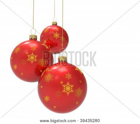 Three red christmas ornaments or baubles