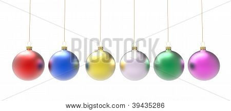 Multicolored christmas ornaments or baubles
