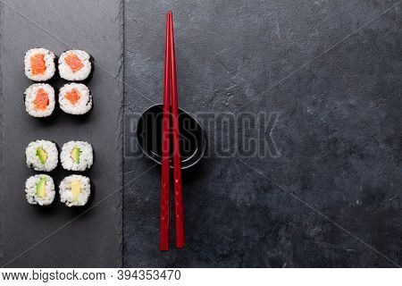 Japanese sushi set. Top view flat lay with copy space