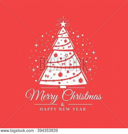 Christmas Tree Decoration Isolated On Red Background. Snowflakes In The Background. Christmas Card I