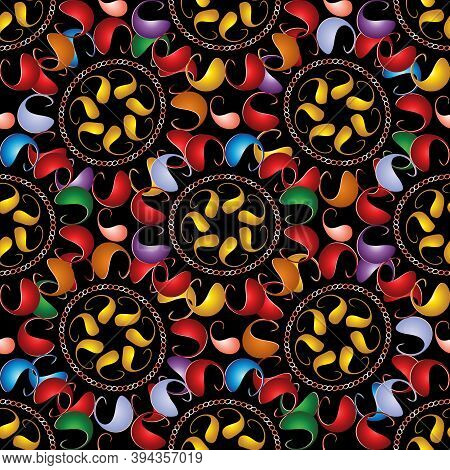 Colorful Vector Paisley Seamless Pattern. Bright Abstract Ornamental Ethnic Style Background. Multic