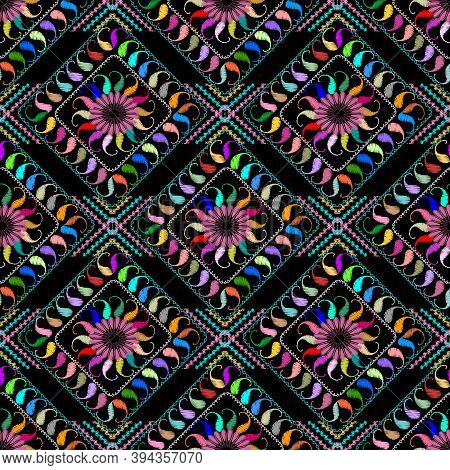 Abstract Embroidered Paisley Seamless Pattern. Vector Colorful Patterned Floral Background. Tapestry