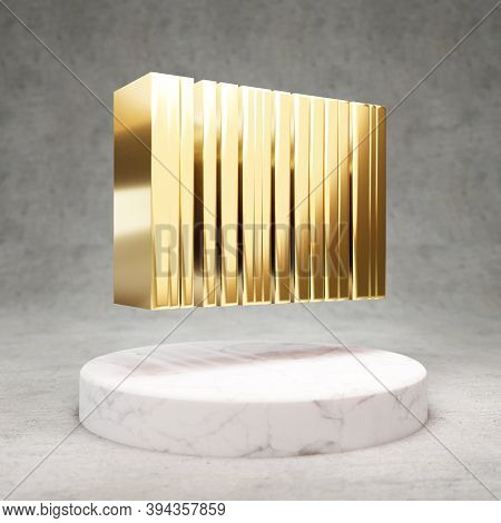 Barcode Icon. Gold Glossy Barcode Symbol On White Marble Podium. Modern Icon For Website, Social Med