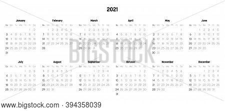 Monthly Calendar Of Year 2021. Week Starts On Sunday. Block Of Months In Two Rows And Six Columns Ho