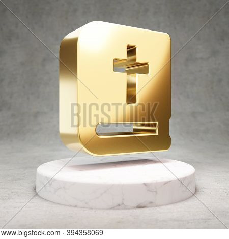 Bible Icon. Gold Glossy Bible Symbol On White Marble Podium. Modern Icon For Website, Social Media,