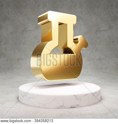 Bong Icon. Gold Glossy Bong Symbol On White Marble Podium. Modern Icon For Website, Social Media, Pr