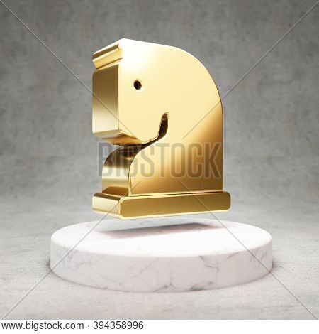 Chess Knight Icon. Gold Glossy Chess Knight Symbol On White Marble Podium. Modern Icon For Website,