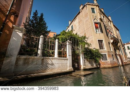 28 September 2018. Italy. Channels Colorful Venetian Canals. Tourism Concept