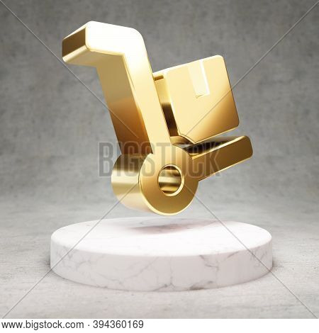 Dolly Icon. Gold Glossy Dolly Symbol On White Marble Podium. Modern Icon For Website, Social Media,