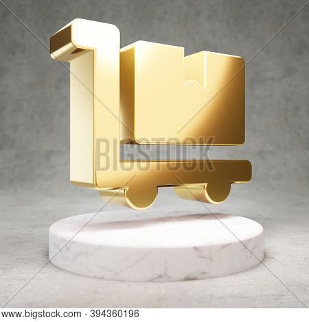 Dolly Flatbed Icon. Gold Glossy Dolly Flatbed Symbol On White Marble Podium. Modern Icon For Website