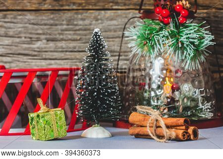 Christmas decoration with little tree and other holidays symbol