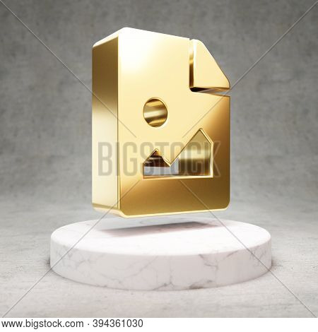 Image File Icon. Gold Glossy Image File Symbol On White Marble Podium. Modern Icon For Website, Soci