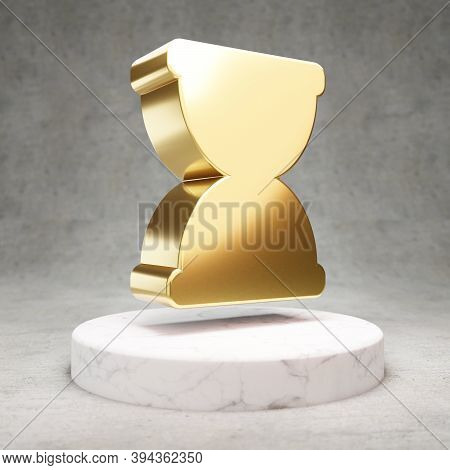 Hourglass Icon. Gold Glossy Hourglass Symbol On White Marble Podium. Modern Icon For Website, Social