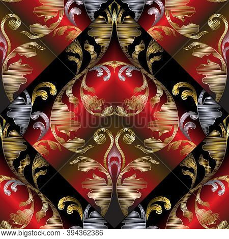 3d Embroidery Baroque Seamless Pattern. Vector Black Red Gold Abstract Geometric 3d Background. Orna