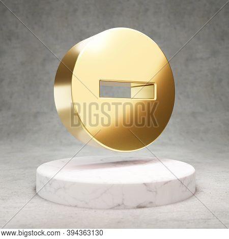 Minus Circle Icon. Gold Glossy Minus Circle Symbol On White Marble Podium. Modern Icon For Website,