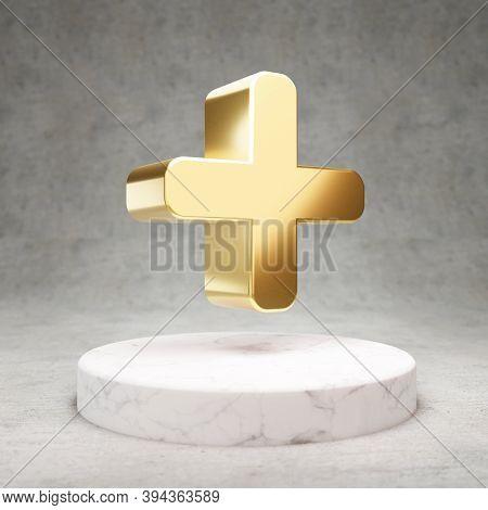 Plus Icon. Gold Glossy Plus Symbol On White Marble Podium. Modern Icon For Website, Social Media, Pr
