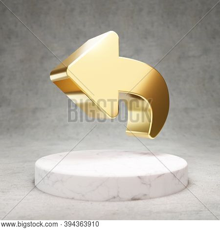 Reply Icon. Gold Glossy Reply Symbol On White Marble Podium. Modern Icon For Website, Social Media,