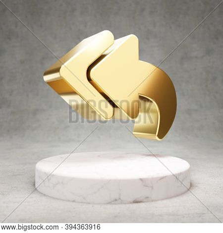 Reply All Icon. Gold Glossy Reply All Symbol On White Marble Podium. Modern Icon For Website, Social