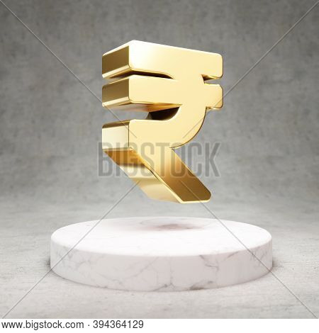 Rupee Icon. Gold Glossy Rupee Symbol On White Marble Podium. Modern Icon For Website, Social Media,