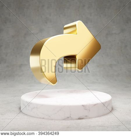 Share Icon. Gold Glossy Share Symbol On White Marble Podium. Modern Icon For Website, Social Media,
