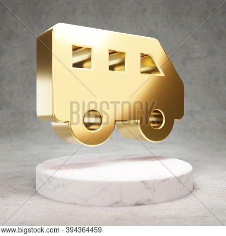 Shuttle Van Icon. Gold Glossy Shuttle Van Symbol On White Marble Podium. Modern Icon For Website, So