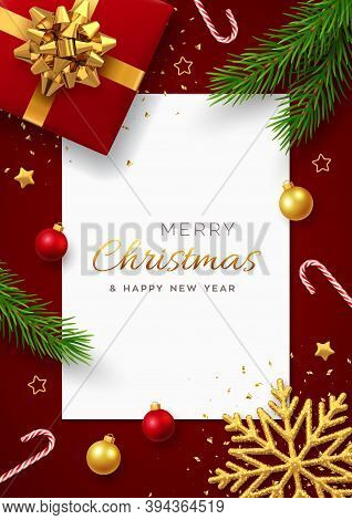Christmas Background With Square Paper Banner, Realistic Red Gift Box With Golden Bow, Pine Branches