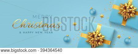 Christmas Banner. Realistic Blue Gift Boxes With Golden Bow, Gold Stars, Balls And Glitter Confetti.