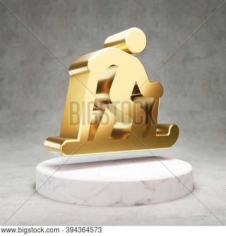 Skiing Nordic Icon. Gold Glossy Skiing Nordic Symbol On White Marble Podium. Modern Icon For Website