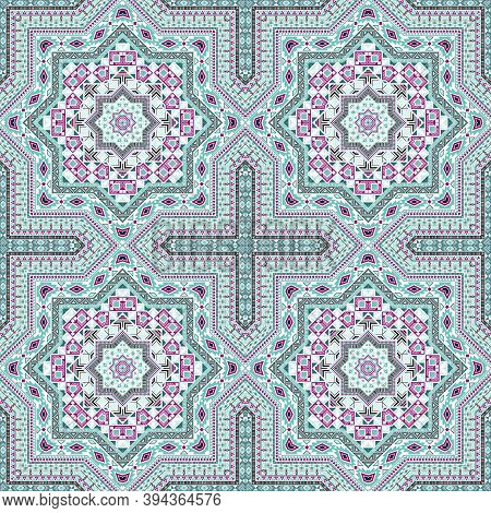 Delicate Portugese Azulejo Tile Seamless Pattern. Ethnic Structure Vector Swatch. Quilt Print Design