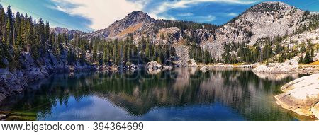 Lake Mary Panorama Views From Hiking Trail To Sunset Peak On The Great Western Trail By Brighton Res
