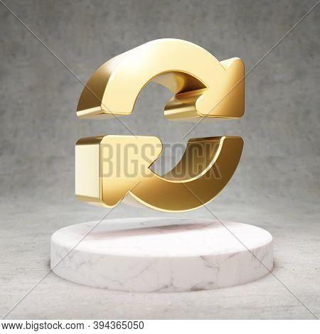 Sync Icon. Gold Glossy Sync Symbol On White Marble Podium. Modern Icon For Website, Social Media, Pr