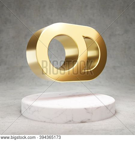 Toggle Off Icon. Gold Glossy Toggle Off Symbol On White Marble Podium. Modern Icon For Website, Soci