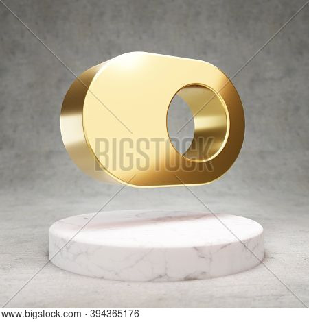 Toggle On Icon. Gold Glossy Toggle On Symbol On White Marble Podium. Modern Icon For Website, Social