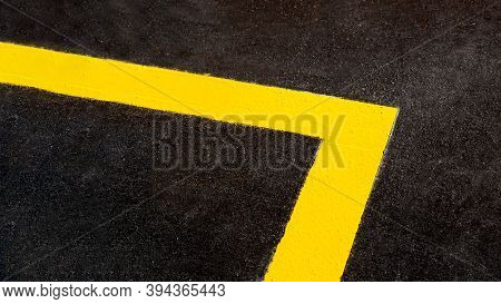 Yellow Markings Angle Of The New Highway With Tarmac Road Surface Close Up Asphalt Texture Of Bitume