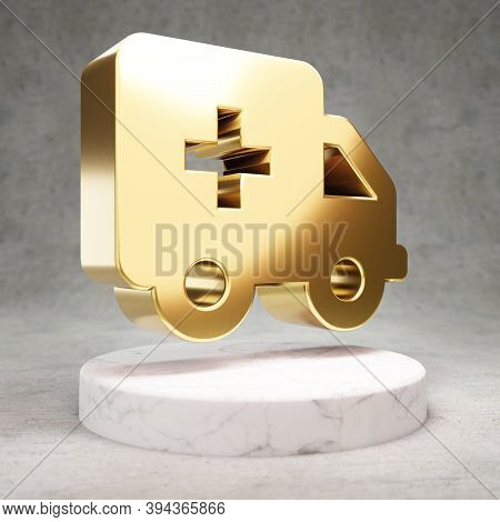 Ambulance Icon. Gold Glossy Ambulance Symbol On White Marble Podium. Modern Icon For Website, Social