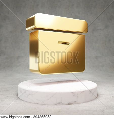 Archive Icon. Gold Glossy Archive Symbol On White Marble Podium. Modern Icon For Website, Social Med