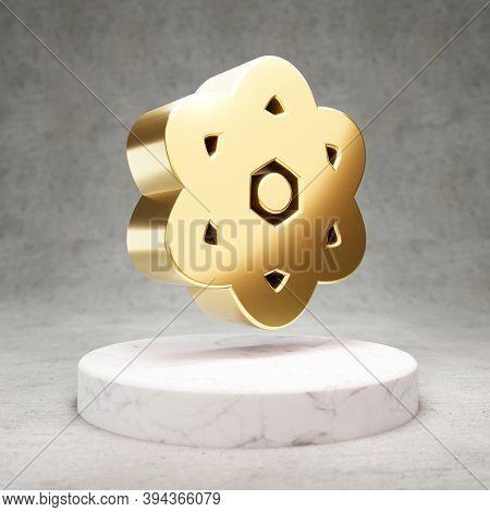 Atom Icon. Gold Glossy Atom Symbol On White Marble Podium. Modern Icon For Website, Social Media, Pr