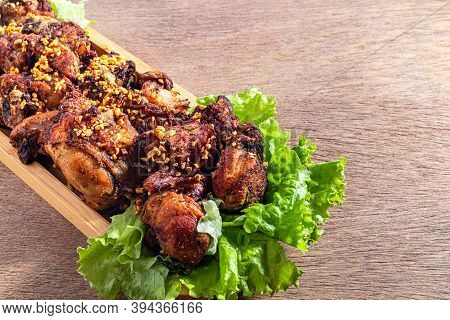 Brazilian Style Deep Fried Chicken. Called Frango A Passarinho. Selective Focus. Space For Text.