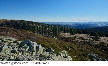 Mountain Ridge During Cloudless Day On Sunrise - Jeseniky, Czech Republic.