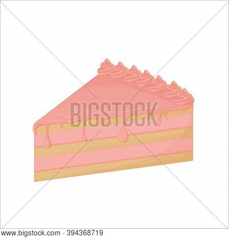 Detailed Piece Of Cake Glazed Isolated On White Background. Portion Colorful Object, Clipart Design