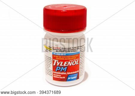 Saint Elizabeth, Jamaica - October 17 2020: Tylenol Pm Extra Strength Pain Reliever Nighttime Sleep
