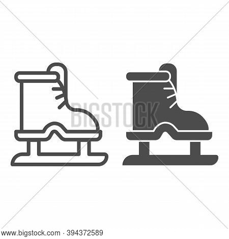 Ice Skates Line And Solid Icon, Winter Sport Concept, Boot With Blade Sign On White Background, Equi