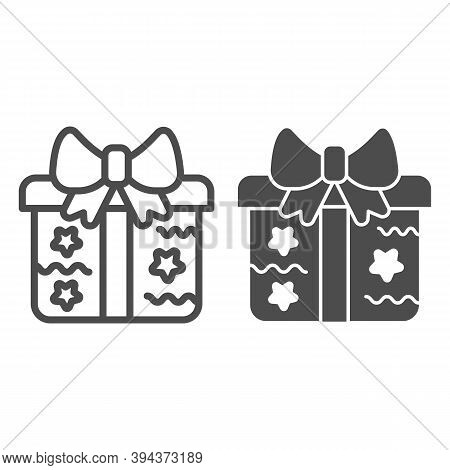 Gift Box With Stars And Bow Line And Solid Icon, Christmas And New Year Concept, Holiday Present Sig