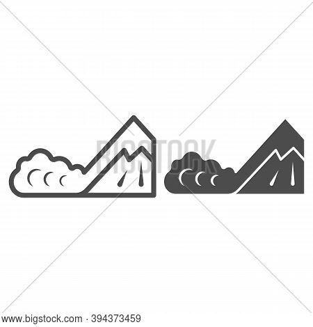 Snow Avalanche Line And Solid Icon, World Snow Day Concept, Natural Disaster Sign On White Backgroun