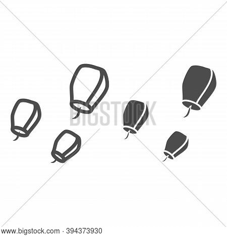 Chinese Lantern Line And Solid Icon, Chinese Mid Autumn Festival Concept, Flying Paper Flashlight Si