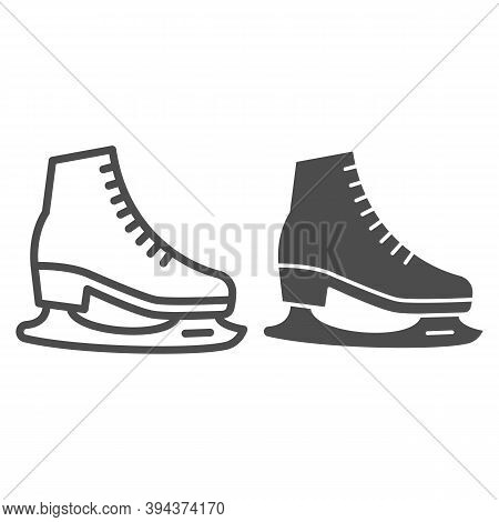 Skates Line And Solid Icon, World Snow Day Concept, Skating Sign On White Background, Hockey Skates