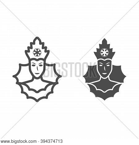 Snow Queen Line And Solid Icon, World Snow Day Concept, Ice Queen Sign On White Background, Winter P