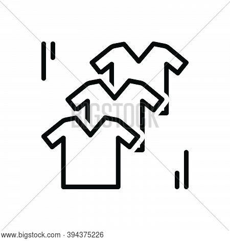 Black Line Icon For Clothes T-shirt Attire Raiment Textile Weft Toilette Habiliments Fashionable Gar