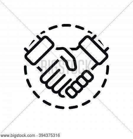 Black Line Icon For Involvement Participation Collaboration Connivance Settlement Agreement Deal Han